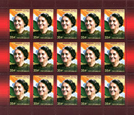 Фото Почтовая марка The 100th Anniversary of the Birth of Indira Gandhi, 1917-1984