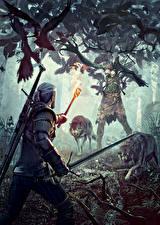 Обои Ведьмак 3: Дикая Охота Геральт из Ривии Монстры Волки Мечи Факел Игры