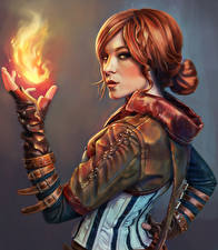 Фото Ведьмак Пламя Волшебство Рыжая Triss Игры Девушки Фэнтези