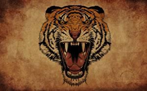 Обои Тигры Рисованные Клыки Злость Язык (анатомия) Животные
