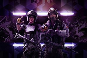 Фотографии Tom Clancy's Rainbow Six: Siege Осада Солдаты Автоматы 2 Mira, Jackal Игры Девушки