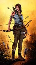 Фото Tomb Raider 2013 Лара Крофт Лук оружие Игры Девушки