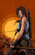 Фотографии Tomb Raider 2013 Лара Крофт Лук оружие Недовольство компьютерная игра Девушки