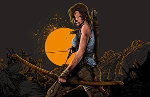 Фотографии Tomb Raider 2013 Лара Крофт Лук оружие Хмурость Ночь компьютерная игра