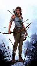 Картинка Tomb Raider 2013 Лара Крофт Лук оружие Стрела Девушки