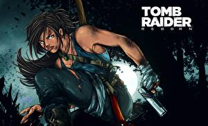 Картинки Tomb Raider 2013 Пистолеты Лара Крофт Игры Девушки