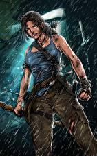 Фотография Tomb Raider 2013 Дождь Лара Крофт Игры Девушки