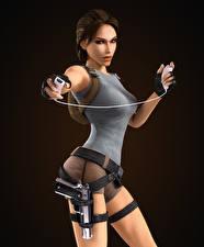 Обои Tomb Raider Anniversary Лара Крофт На черном фоне Девушки 3D_Графика