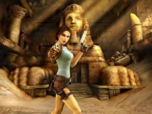 Фотографии Tomb Raider Anniversary Пистолеты Лара Крофт Девушки