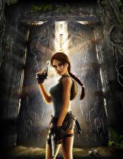 Картинка Tomb Raider Anniversary Пистолеты Лара Крофт компьютерная игра Девушки