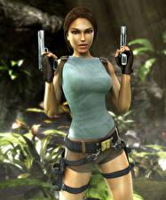 Фотография Tomb Raider Anniversary Пистолеты Лара Крофт Игры Девушки 3D_Графика