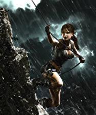 Фотографии Tomb Raider Underworld Дождь Лара Крофт Игры Девушки