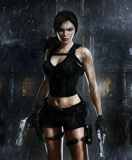Обои Tomb Raider Underworld Дождь Пистолеты Лара Крофт Игры Девушки