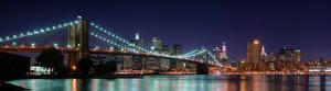 Картинки США Мосты Нью-Йорк Ночь Brooklyn Города