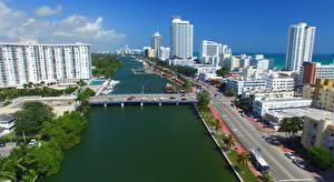 Картинка Америка Мосты Дома Майами Флорида Улица Залива