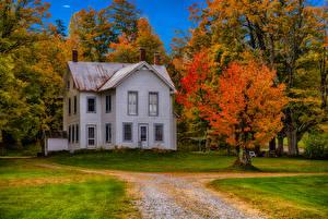Фотографии Штаты Здания Осень Нью-Йорк Особняк Дизайн Деревьев Forestdale город