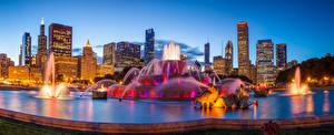 Картинки Штаты Здания Вечер Фонтаны Чикаго город Buckingham fountain Города