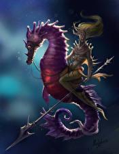 Обои Подводный мир Воины Морские коньки Копья