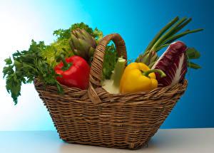 Картинки Овощи Перец Корзина