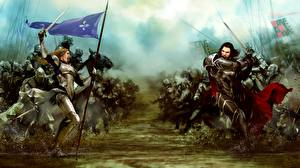 Картинки Воители Битвы Bladestorm Броня Мечи Nightmare Игры Фэнтези