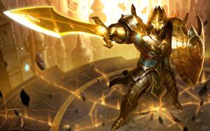 Фотография Воин Heroes of Newerth Мечи Доспехах Щит Blade of Soul, Jeraziah компьютерная игра Фэнтези