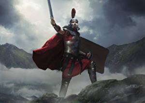 Обои Воители Total War: Arena Мечи Плащ Шлем Germanicus
