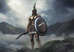 Фотографии Воины Total War: Arena Щит Мечи Шлем Leonidas Игры