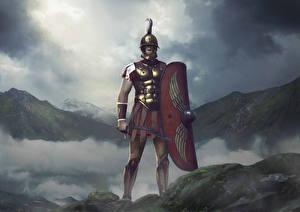 Картинка Воин Total War: Arena Щиты Меча Шлем Scipio Игры