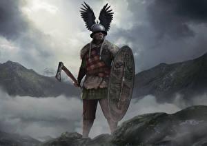 Фотографии Воители Total War: Arena Боевые топоры / Секиры Щит Шлем Vercingetorix Игры