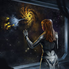 Картинки Окно Вид сзади Шатенка Фэнтези Космос Девушки