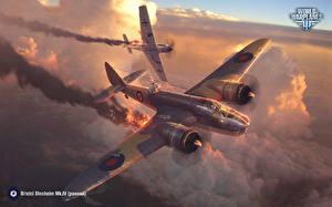 Картинка World of Warplanes Самолеты Истребители Бомбардировщик Немецкий Британский Bristol Blenheim Mk.IV,  Messerschmitt Bf 109 E Emil компьютерная игра