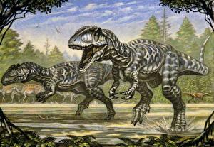 Картинки Древние животные Динозавры Рисованные Двое Carcharodontosaurus