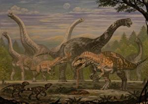 Картинка Древние животные Динозавры Рисованные Acrocanthosaurus, Sauroposeidon, Astrodon