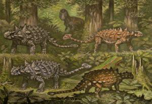 Фото Древние животные Динозавры Рисованные Ankylosaurinae, Euoplocephalus