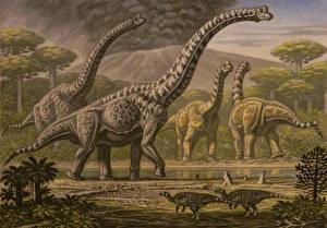 Картинка Древние животные Динозавры Рисованные Brachiosaurus, Camarasaurus