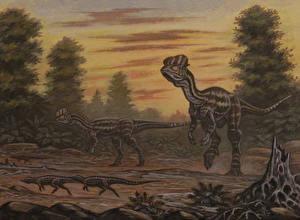 Фотографии Древние животные Динозавры Рисованные Dilophosaurus, Scutellosaurus Животные