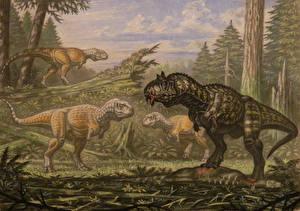 Обои Древние животные Динозавры Рисованные Carnotaurus, Abelisaurus