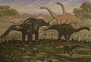 Фотография Древние животные Динозавры Рисованные Diplodocus, Ornitholestes, young Saurophaganax