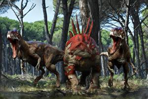 Фотография Древние животные Динозавры Злость Stegosaurus 3D_Графика