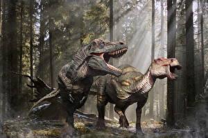Обои Древние животные Динозавры Тираннозавр рекс Злость Edmontosaurus 3D_Графика