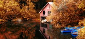 Фотография Осень Озеро Лодки Природа