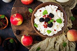 Обои Ежевика Творог Яблоки Завтрак Еда