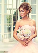 Картинки Букеты Шатенка Невеста