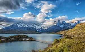 Фото Чили Парки Горы Небо Озеро Мосты Пейзаж Облака Lake Pehoe Torres del Paine National Park