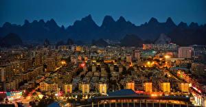 Обои Китай Здания Горы Ночные Yangshuo Города