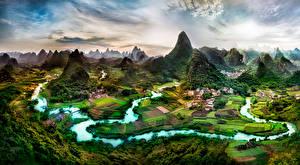 Фотография Китай Речка Здания Поля Скала Guangxi Province Природа