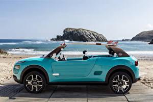 Обои Citroen Оригинальные Голубой Сбоку Металлик 2015 Cactus M Автомобили