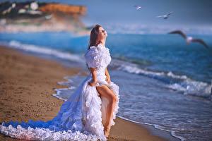 Фото Берег Невеста Платье Шатенка Ноги Девушки