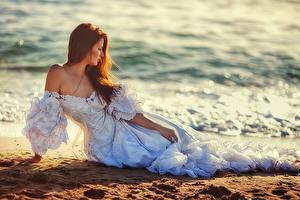 Фото Берег Шатенка Платье Невеста Девушки