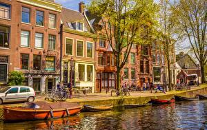 Обои Берег Дома Лодки Нидерланды Амстердам Улица Города